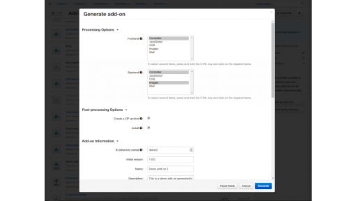 Configuring a new add-on to be generated by Developer Tools
