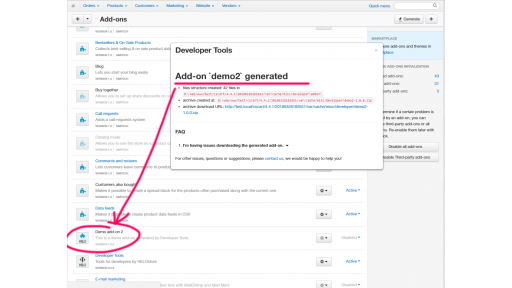 The newly generated add-on boilerplate generated by Developer Tools