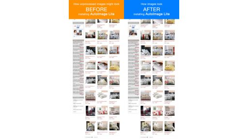Real site comparison image crop and resize before and after using AutoImage Lite